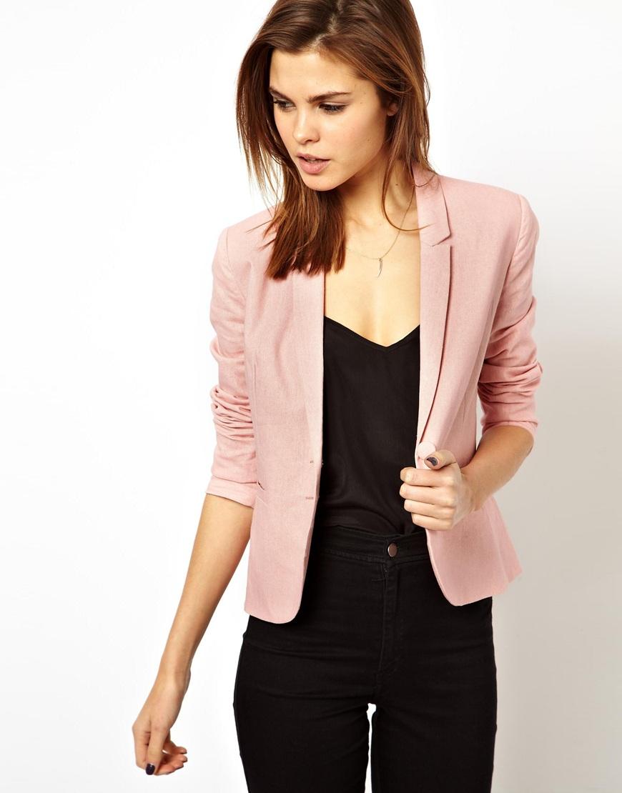 Lyst - Asos Linen Tailored Blazer In Pink-9583