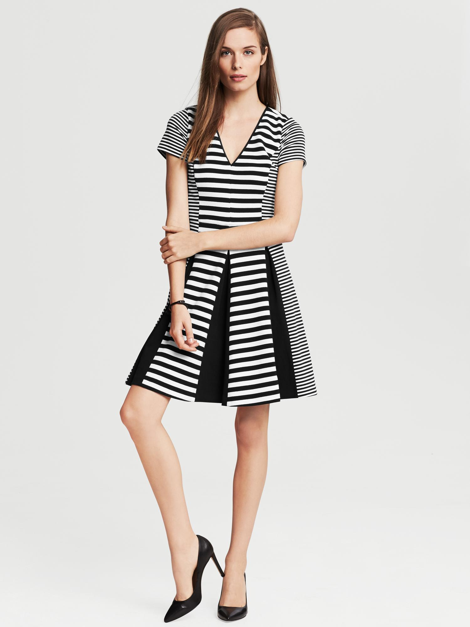 Banana Republic Mixed Stripe Fit And Flare Dress Black