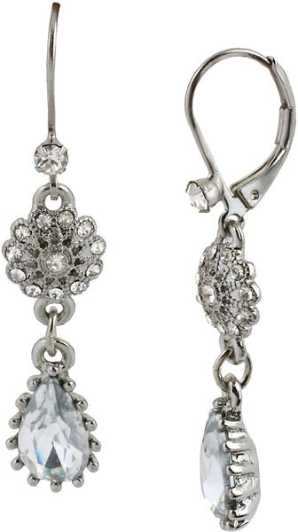 Betsey Johnson Crystal Pendant Double Drop Earrings - Lyst