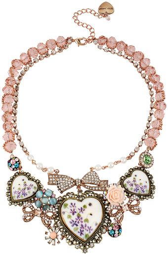 Betsey Johnson Floral Hearts Frontal Necklace - Lyst