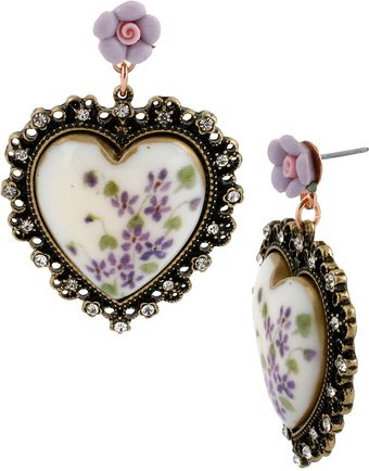 Betsey Johnson Floral Printed Heart Pendant Drop Earrings - Lyst