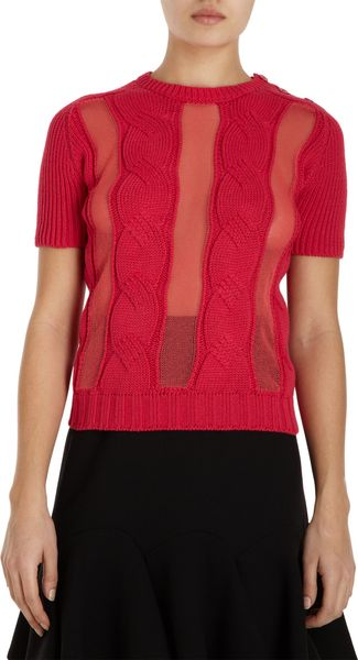 Carven Short Sleeve Cable Knit Sweater - Lyst