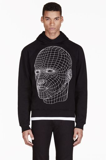 Christopher Kane Black Grid Face Graphic Hooded Sweater - Lyst