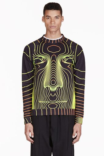 Christopher Kane Train Face Yellow Crewneck Sweatshirt - Lyst