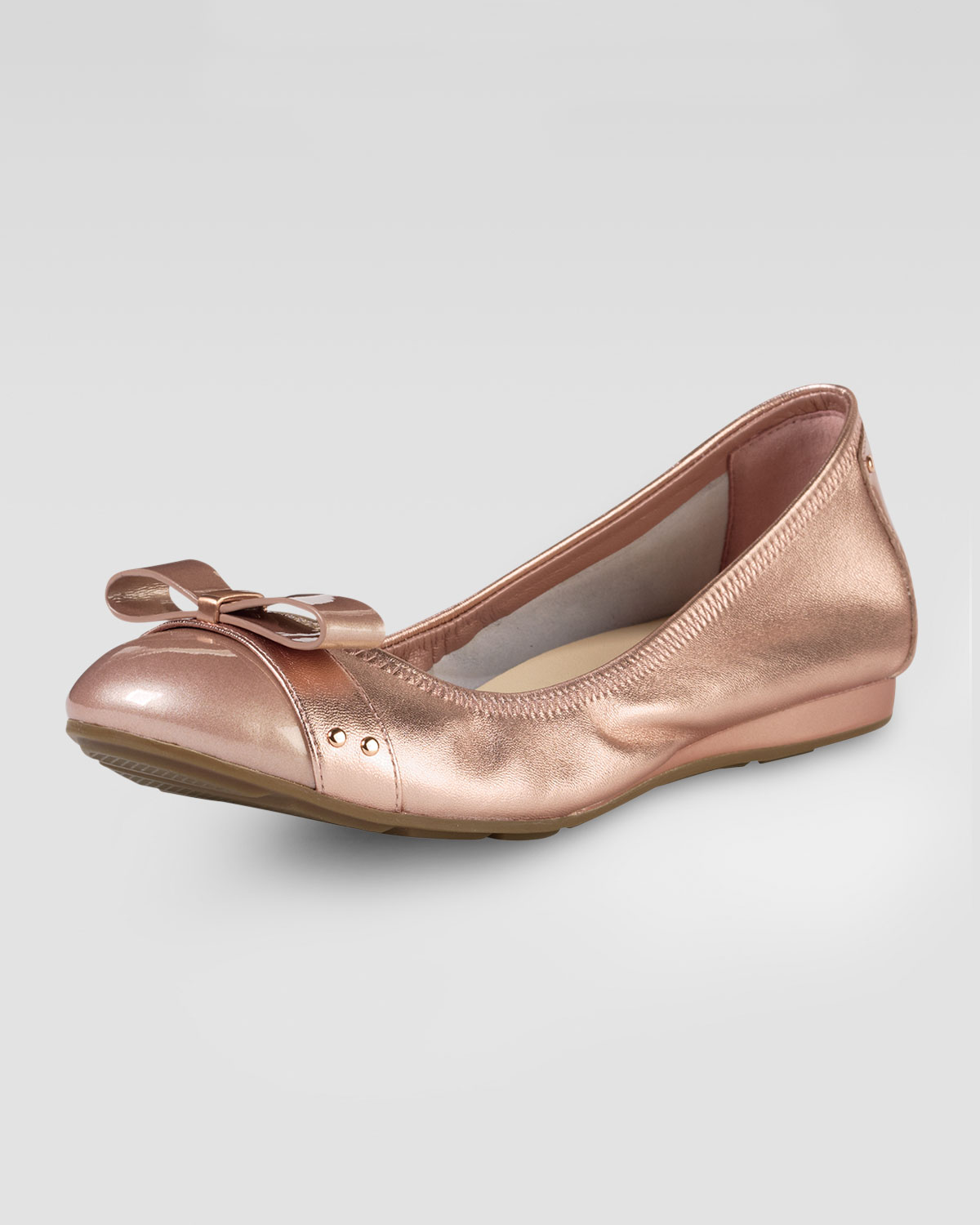 Pink Metallic Flat Shoes