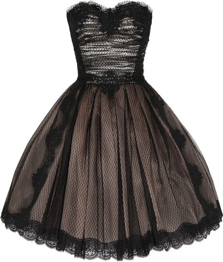 Dolce & Gabbana Strapless Lace and Tulle Dress in Black