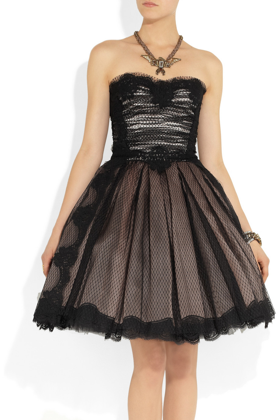 Lyst Dolce Amp Gabbana Strapless Lace And Tulle Dress In Black