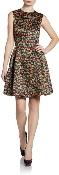 Jill Stuart Floral Satin Dress - Lyst