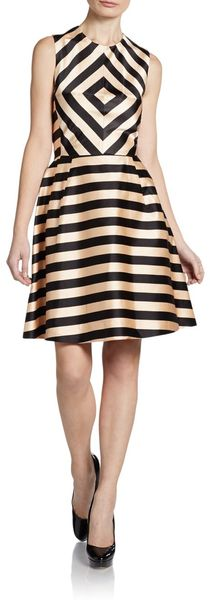 Jill Stuart Silk-blend Satin Striped Dress - Lyst