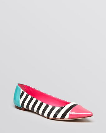 Kate Spade Pointed Toe Cap Toe Flats Graphic - Lyst