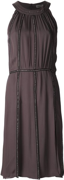 L'Agence Nailhead Shirred Dress - Lyst