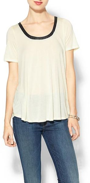 Lanston Leather Trim Scoop Tee - Lyst