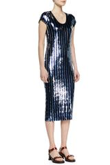 Marc Jacobs Striped Sequins Midi Dress - Lyst