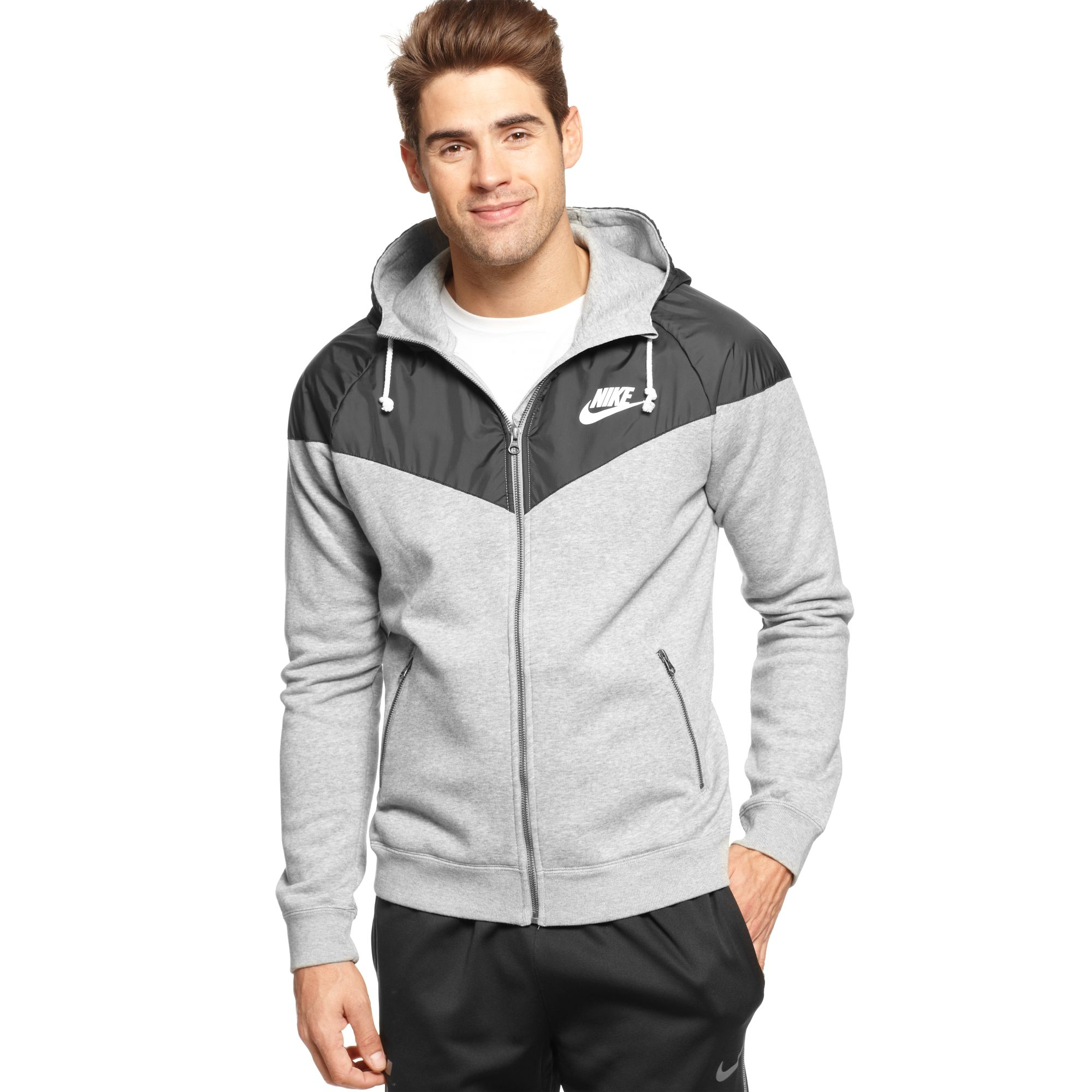 Nike windrunner fleece zip front hoodie in gray for men lyst for Zip front flannel shirt