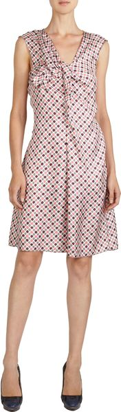 Nina Ricci Geometric Square Print Sleeveless Knot Front Dress - Lyst