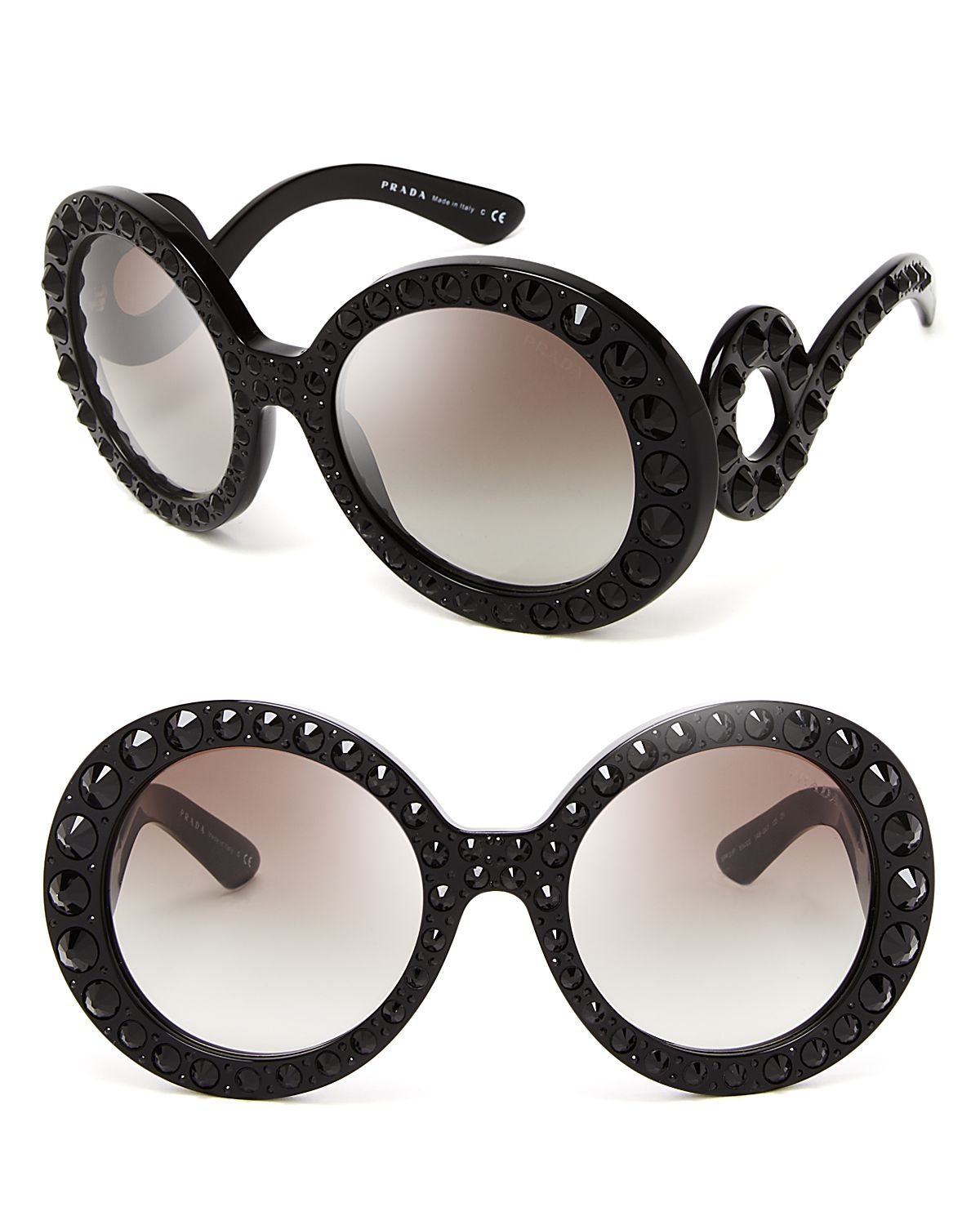 Prada Round Baroque Sunglasses  prada round absolute baroque crystal sunglasses in black lyst