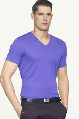 Ralph Lauren Black Label Denim Shortsleeved Vneck Tshirt - Lyst