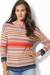 Ralph Lauren  Boat Neck Stripe Top - Lyst
