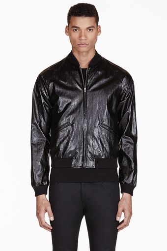 Saint Laurent Black Glossy Bomber Jacket - Lyst