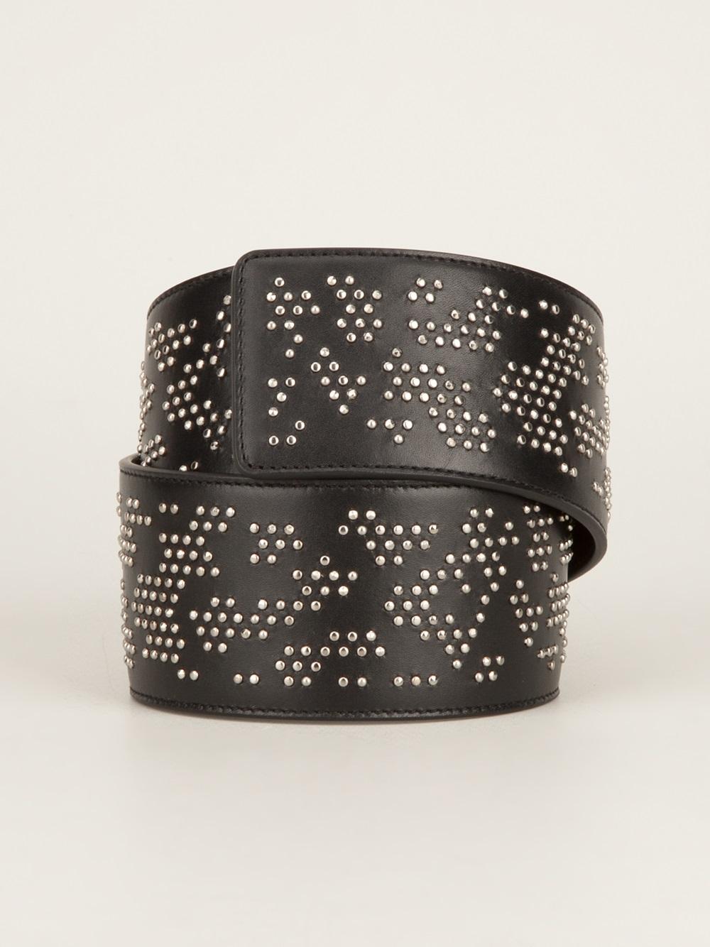 laurent wide studded belt in black lyst