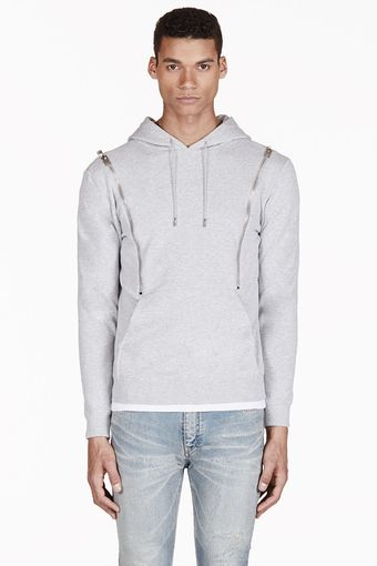 Saint Laurent Heathered Grey Hooded Zip Sweater - Lyst