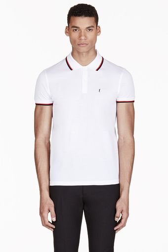 Saint Laurent White Monogrammed Polo - Lyst
