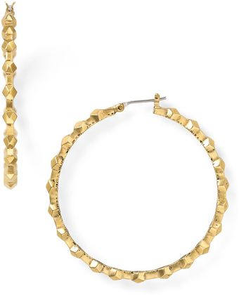Sam Edelman Large Faceted Hoop Earrings - Lyst