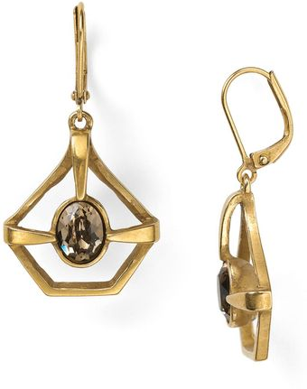 Sam Edelman Prolonged Oval Stone Drop Earrings - Lyst