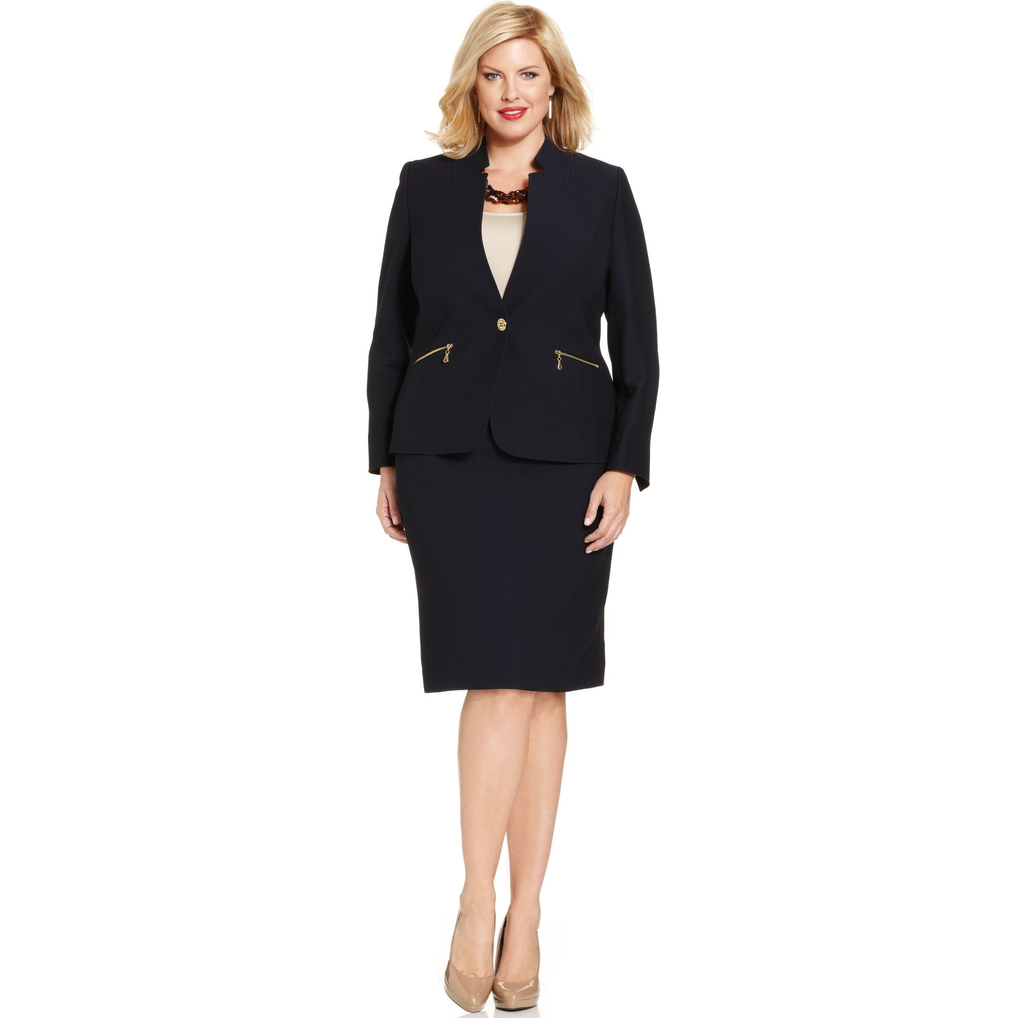 tahari by asl plus size textured skirt suit in blue navy