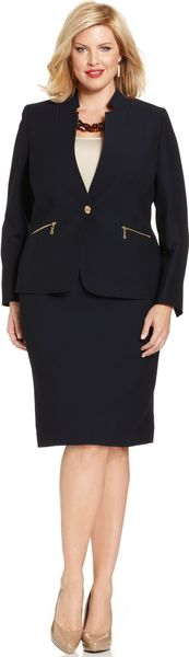 Tahari By Asl Plus Size Textured Skirt Suit - Lyst