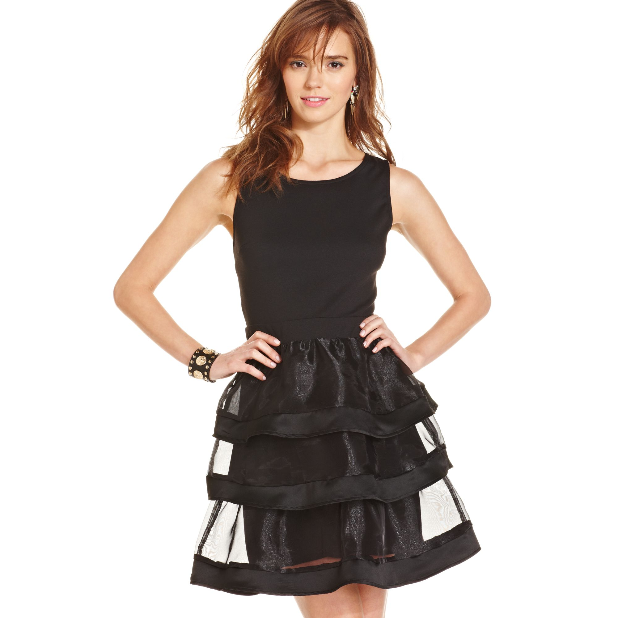 Macy S Juniors Tiered Sheer Panel Aline Dress In Black Lyst