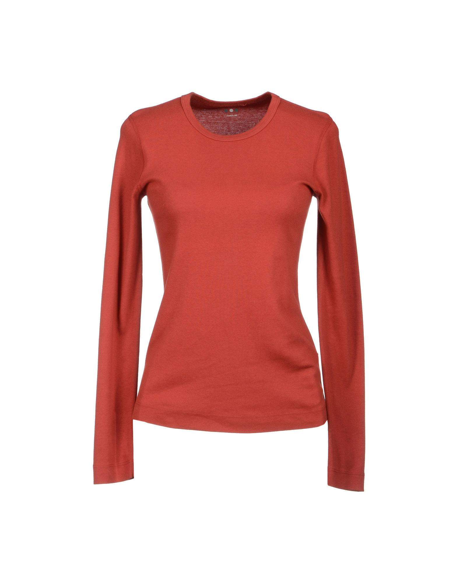 Three Dots Long Sleeve Tshirt In Red Rust Save 45 Lyst