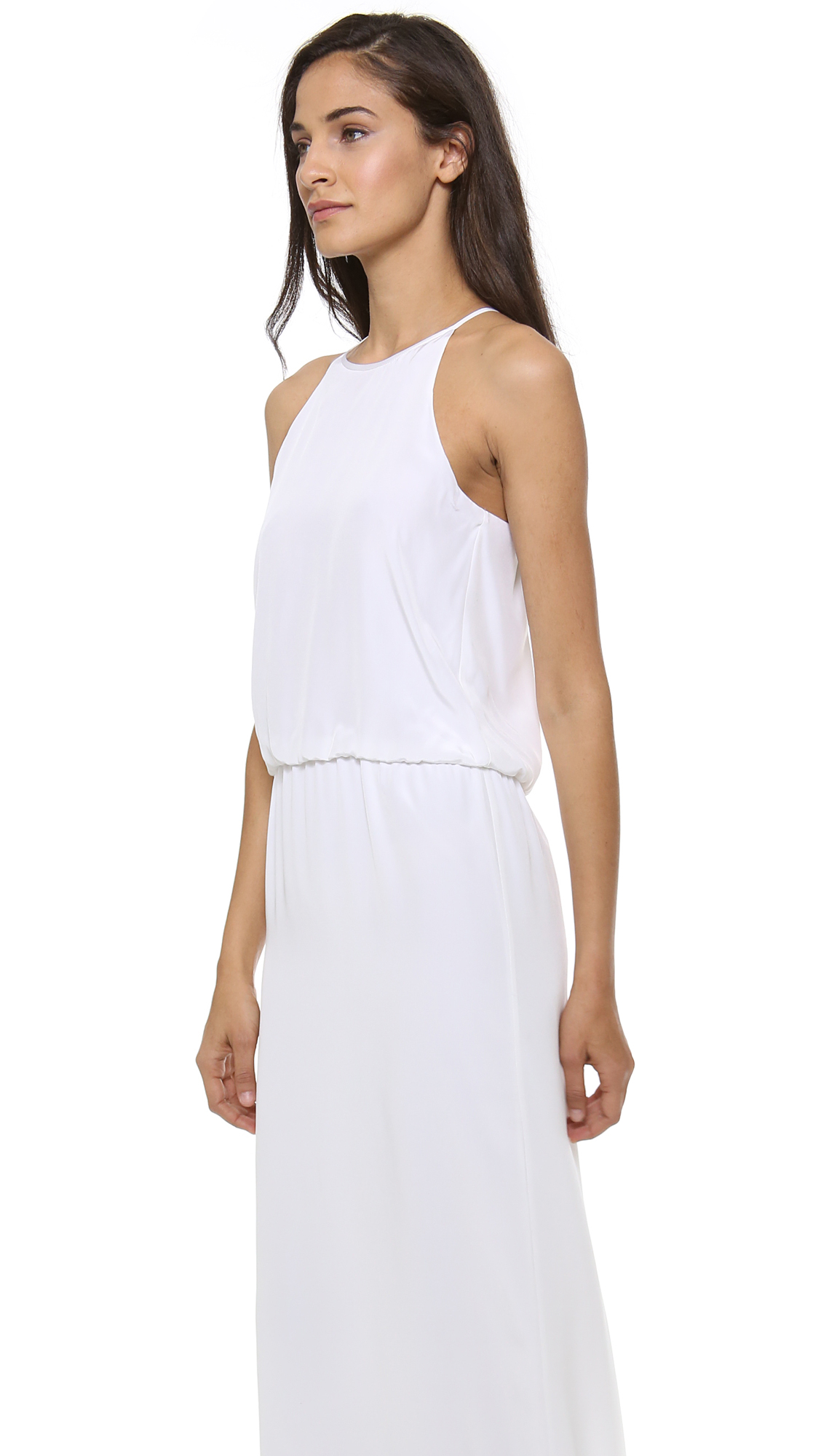 Tibi Long Halter Dress - Ivory in White | Lyst
