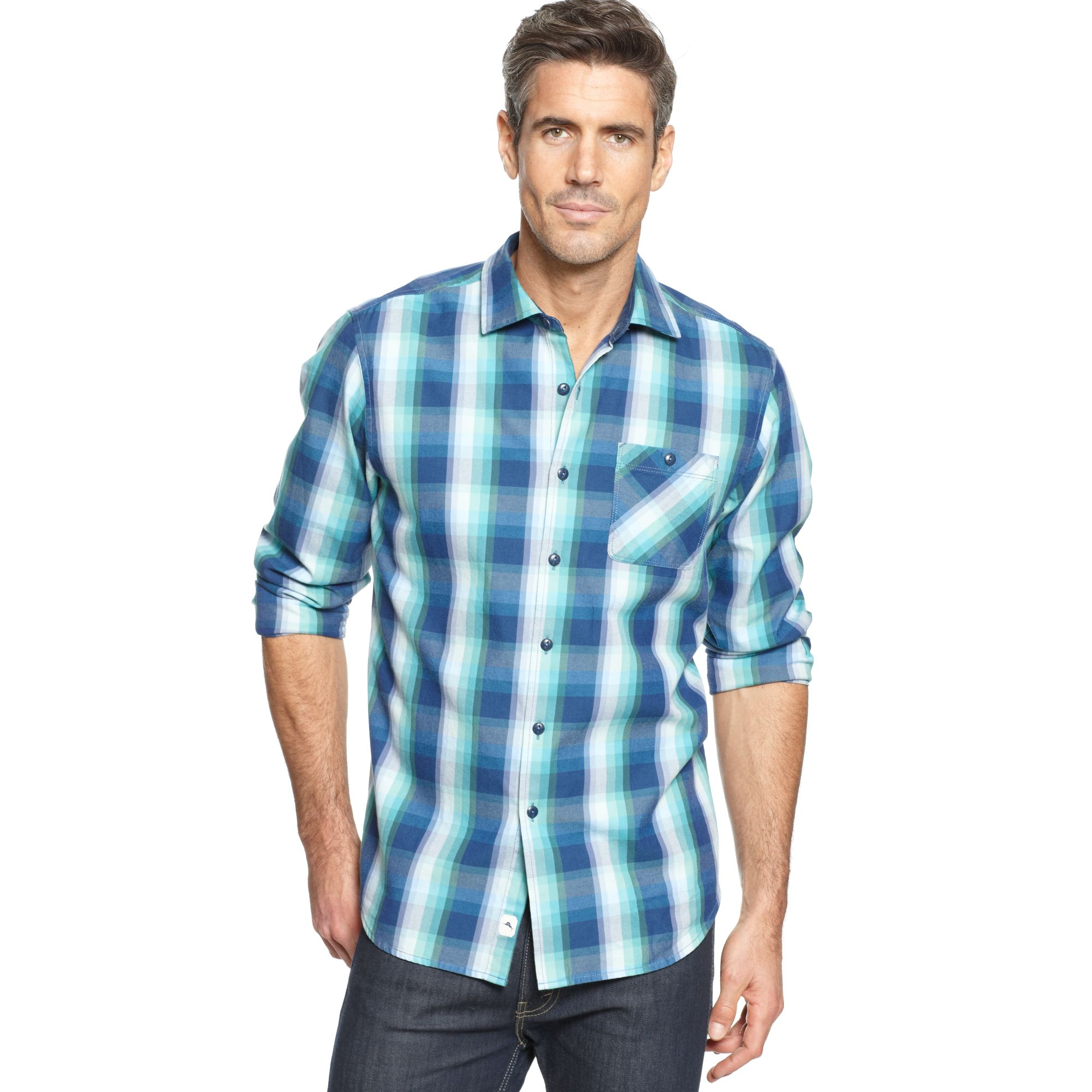 Tommy bahama cabin plaid long sleeve shirt in blue for men for Tommy bahama long sleeve dress shirts