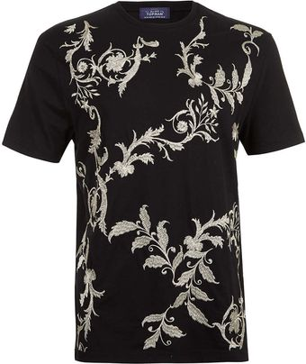 Topman Black Embroidered T-shirt - Lyst