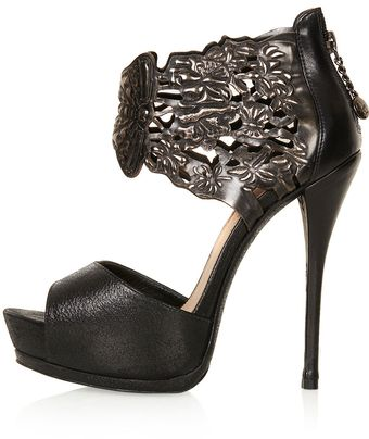 Topshop Orbit Embossed Cuff Platform Shoes By Cjg - Lyst