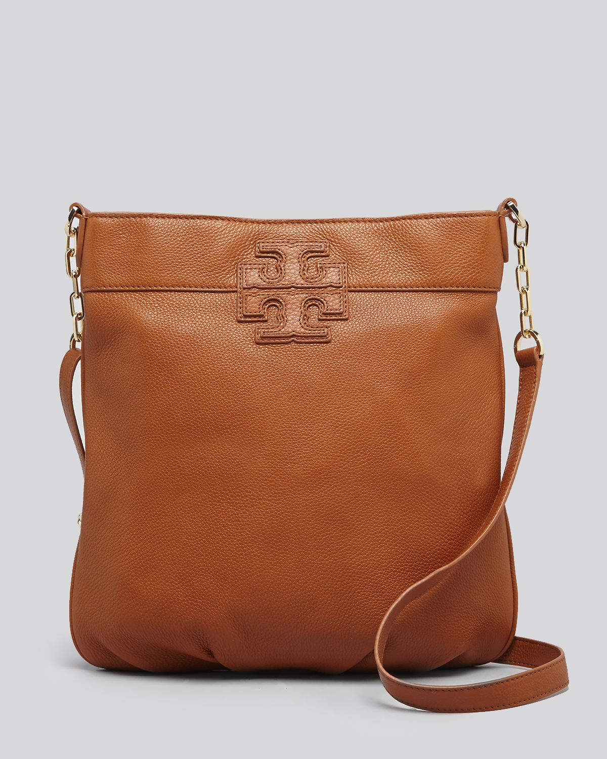 1a8280aeb6e0 Lyst - Tory Burch Crossbody Stacked T Book Bag in Brown