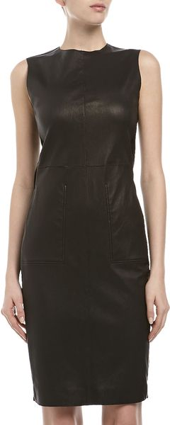 Vince Leather Pencil Dress Black - Lyst