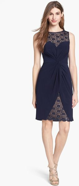 Alex Evenings Twist Front Matte Jersey Lace Sheath Dress - Lyst