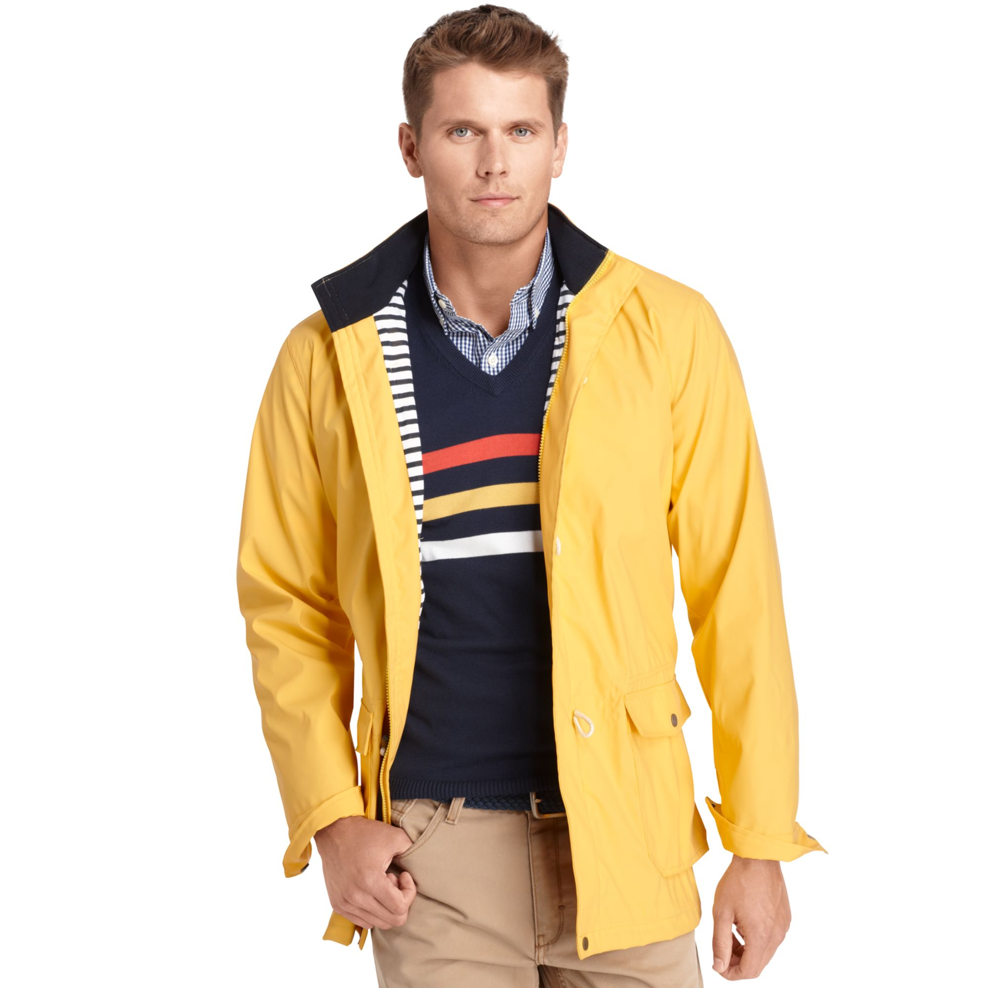 Izod Fisherman Toggle Rain Jacket in Yellow for Men | Lyst