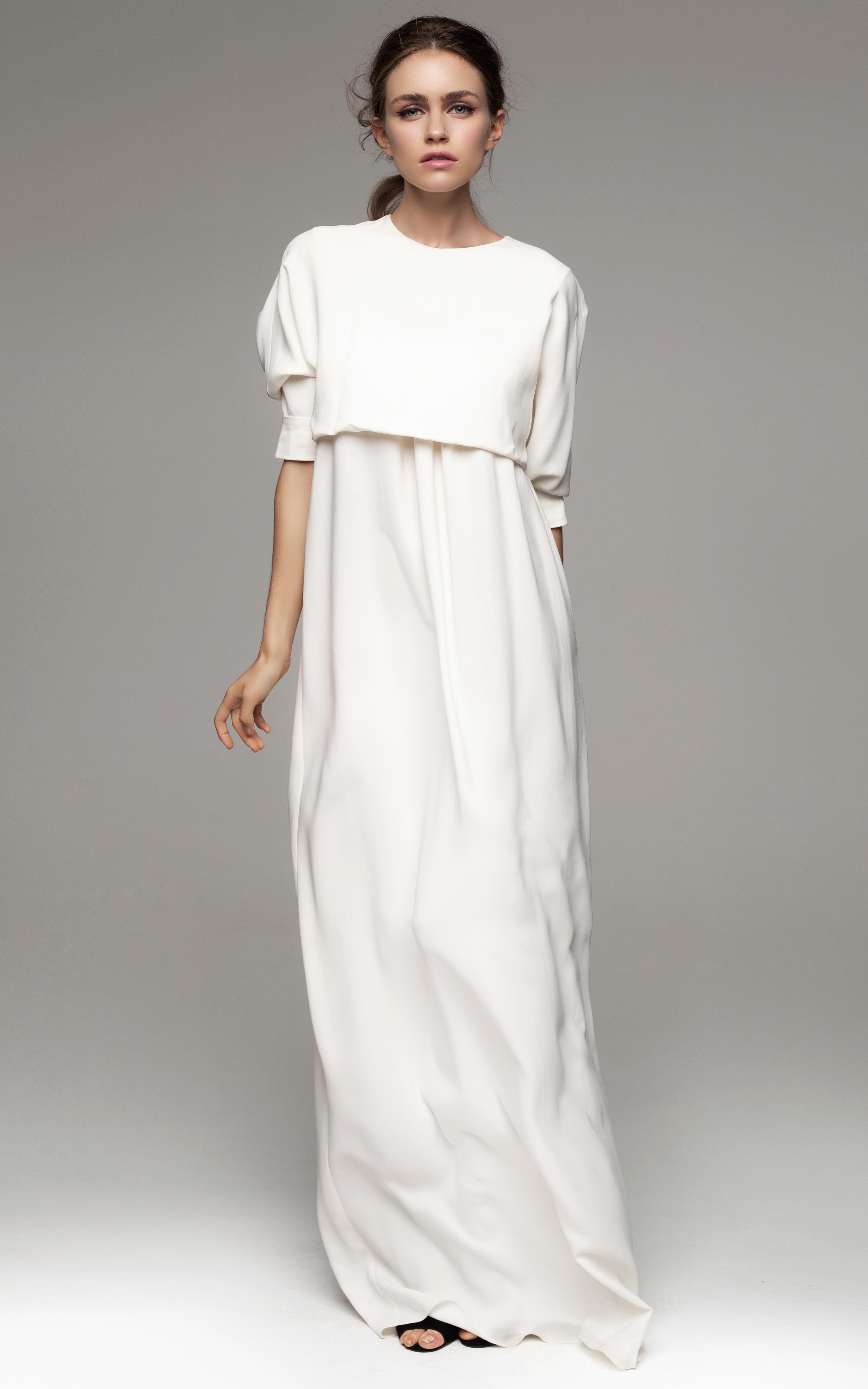 Kalmanovich Long Sleeved Floor Length White Dress In White | Lyst