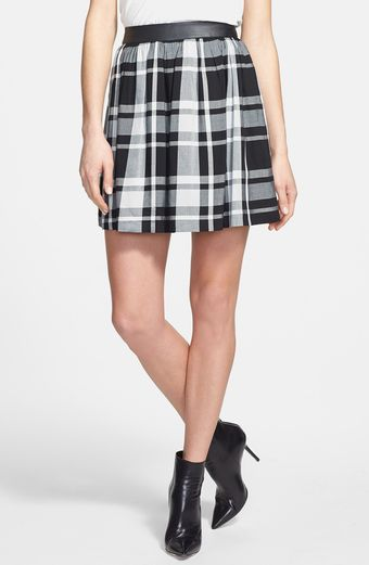 Kensie Faux Leather Waistband Plaid Skirt - Lyst