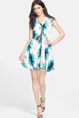 Madison Marcus Print Silk Crepe Dress - Lyst