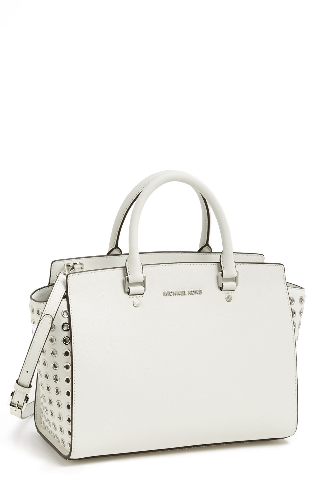 michael michael kors selma large leather satchel in white optic white. Black Bedroom Furniture Sets. Home Design Ideas