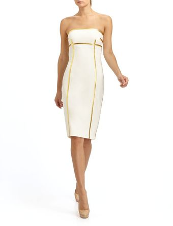 Michael Kors Strapless Wool Crepe Dress - Lyst