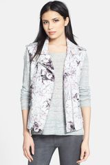 Rebecca Taylor Floral Print Leather Vest - Lyst