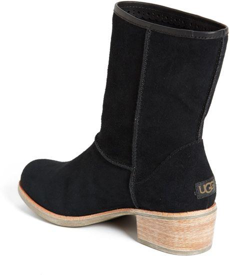 ugg cyrinda suede boot in black lyst