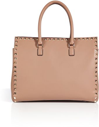 Valentino Leather Studded Shopper Tote - Lyst
