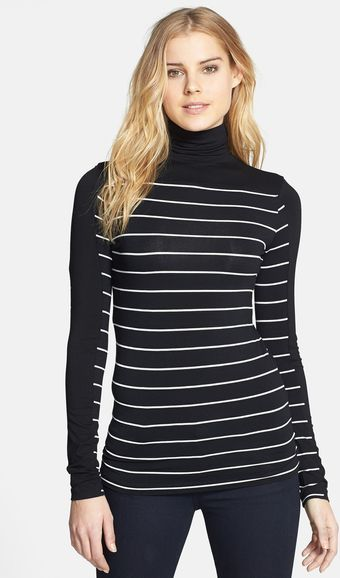 Vince Camuto Stripe Stretch Knit Turtleneck - Lyst