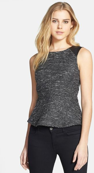 Vince Camuto Tweed Faux Leather Peplum Top - Lyst